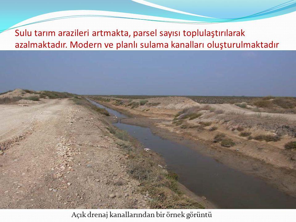 Sulu tarım arazileri artmakta, parsel sayısı toplulaştırılarak azalmaktadır. Modern ve planlı sulama kanalları oluşturulmaktadır