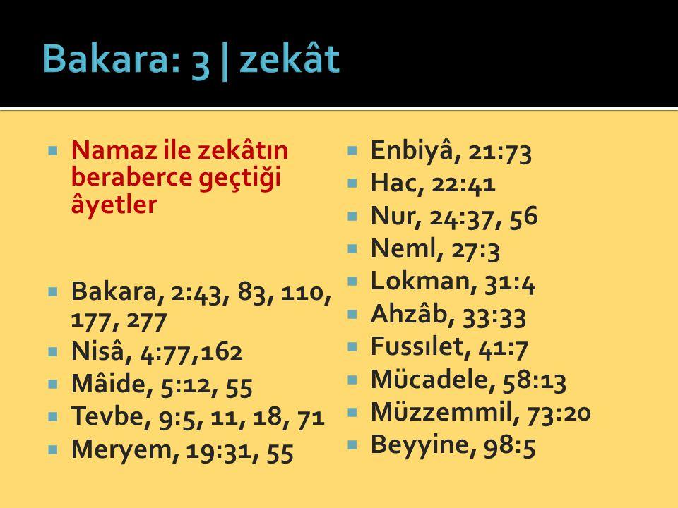 Bakara: 3 | zekât Namaz ile zekâtın beraberce geçtiği âyetler