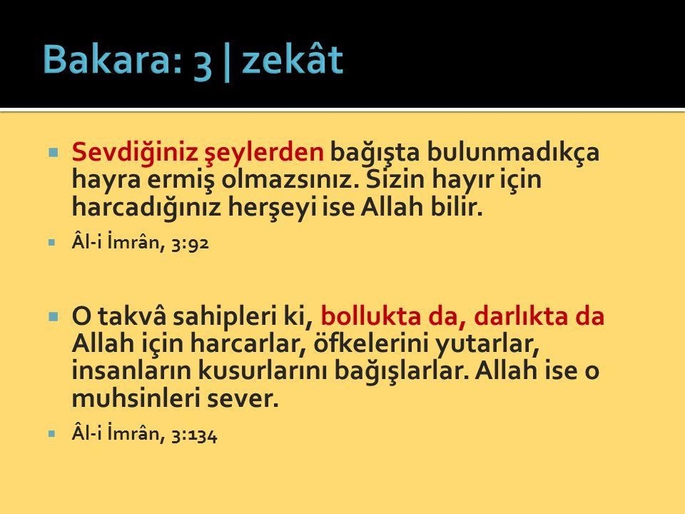 Bakara: 3 | zekât Sevdiğiniz şeylerden bağışta bulunmadıkça hayra ermiş olmazsınız. Sizin hayır için harcadığınız herşeyi ise Allah bilir.