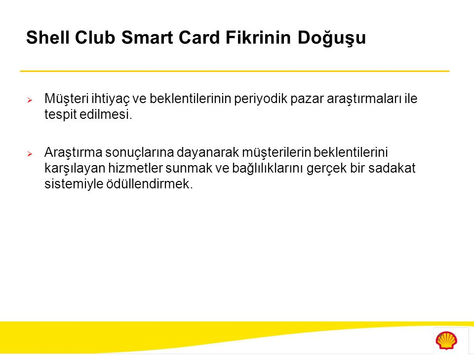 Shell Club Smart Card Fikrinin Doğuşu