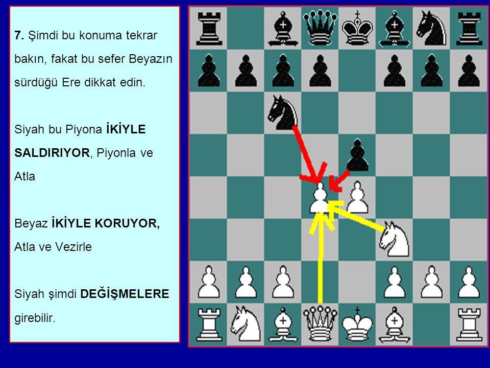 7. Şimdi bu konuma tekrar bakın, fakat bu sefer Beyazın sürdüğü Ere dikkat edin.