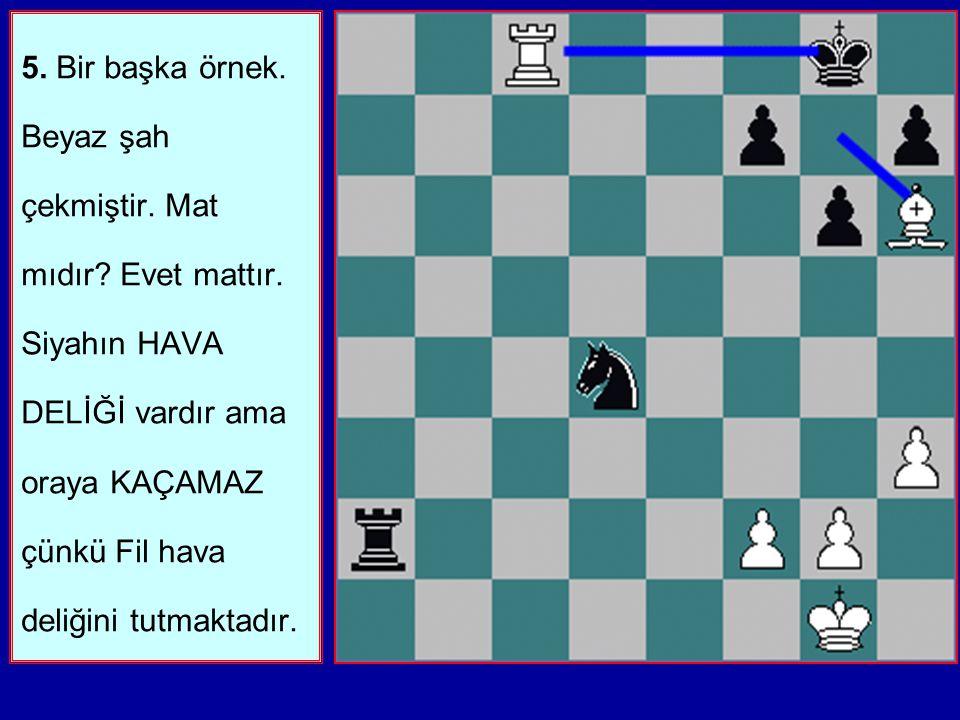5. Bir başka örnek. Beyaz şah çekmiştir. Mat mıdır. Evet mattır