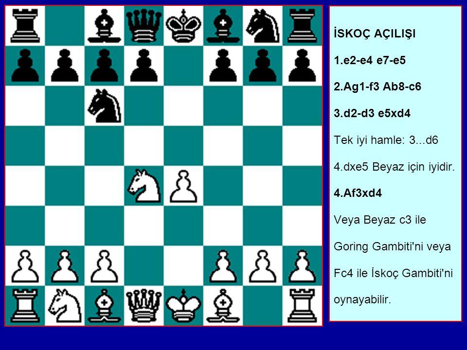 İSKOÇ AÇILIŞI 1. e2-e4 e7-e5 2. Ag1-f3 Ab8-c6 3