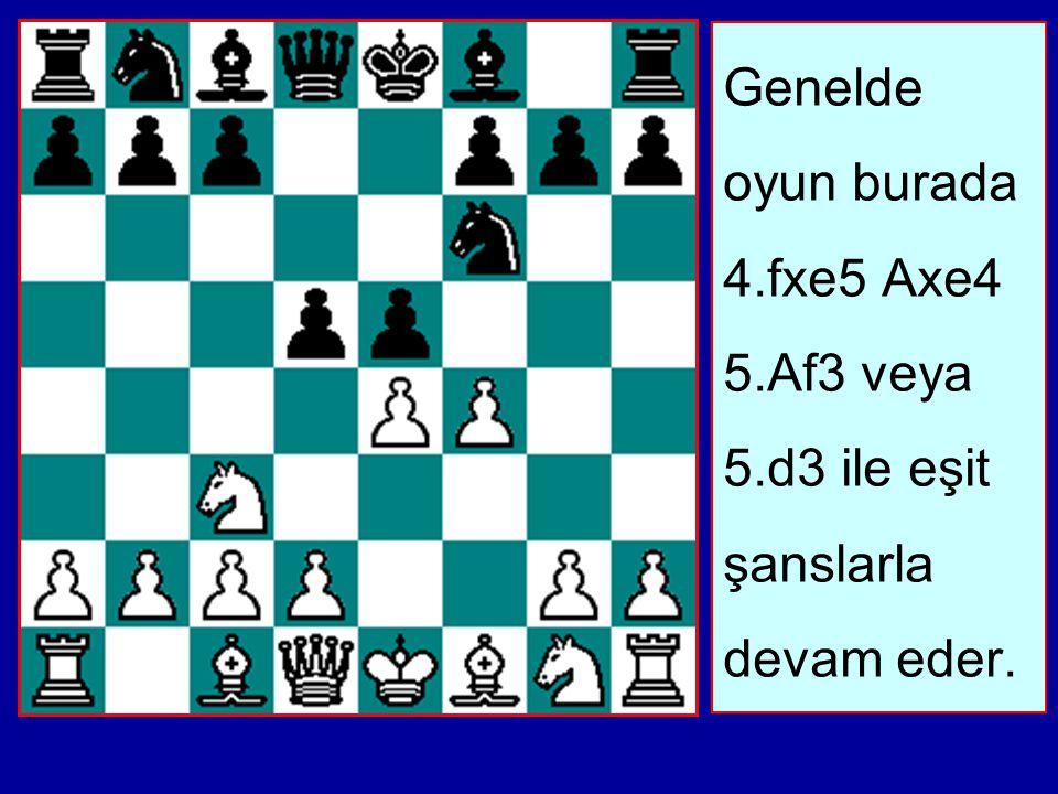 Genelde oyun burada 4. fxe5 Axe4 5. Af3 veya 5