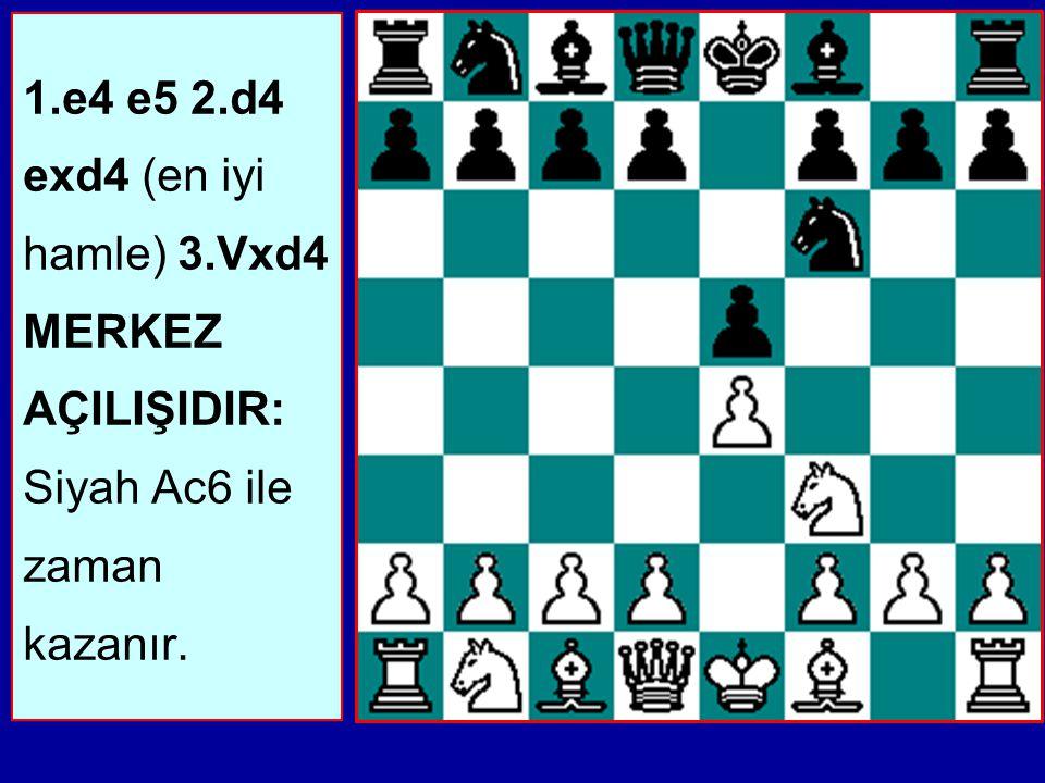 1.e4 e5 2.d4 exd4 (en iyi hamle) 3.Vxd4 MERKEZ AÇILIŞIDIR: Siyah Ac6 ile zaman kazanır.