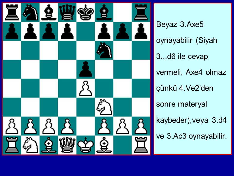 Beyaz 3. Axe5 oynayabilir (Siyah 3