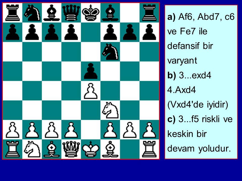 a) Af6, Abd7, c6 ve Fe7 ile defansif bir varyant b) 3. exd4 4