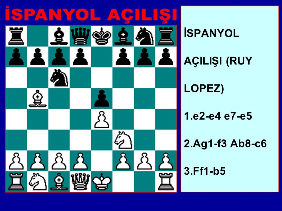 İSPANYOL AÇILIŞI (RUY LOPEZ) 1.e2-e4 e7-e5 2.Ag1-f3 Ab8-c6 3.Ff1-b5