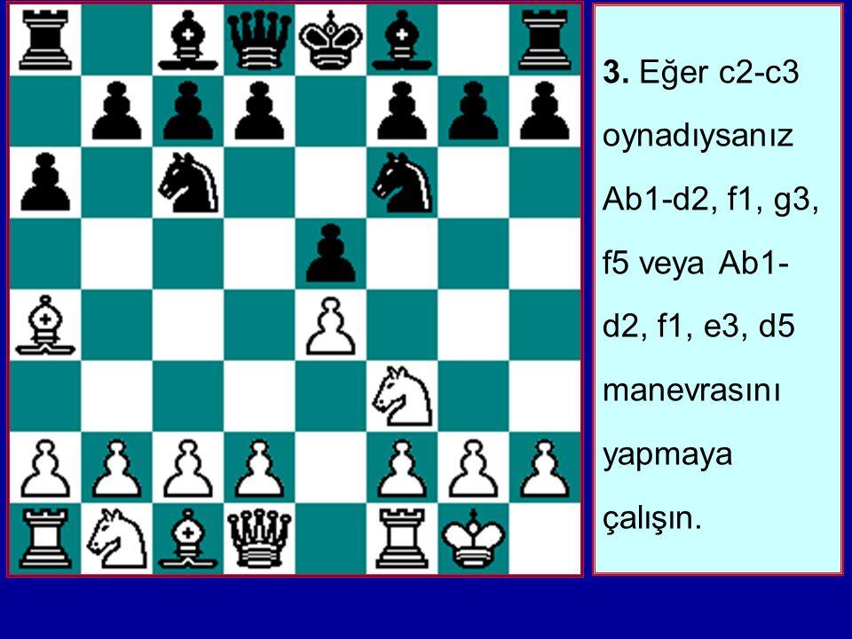3. Eğer c2-c3 oynadıysanız Ab1-d2, f1, g3, f5 veya Ab1-d2, f1, e3, d5 manevrasını yapmaya çalışın.