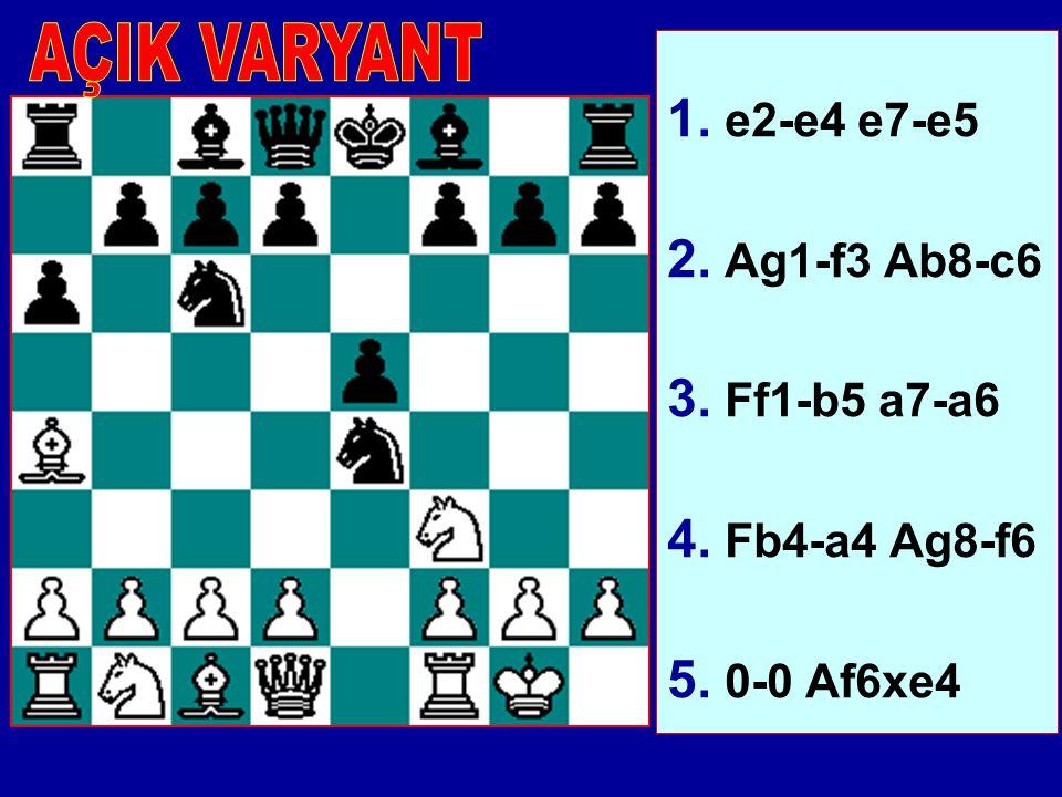 AÇIK VARYANT 1. e2-e4 e7-e5 2. Ag1-f3 Ab8-c6 3. Ff1-b5 a7-a6 4. Fb4-a4 Ag8-f6 5. 0-0 Af6xe4