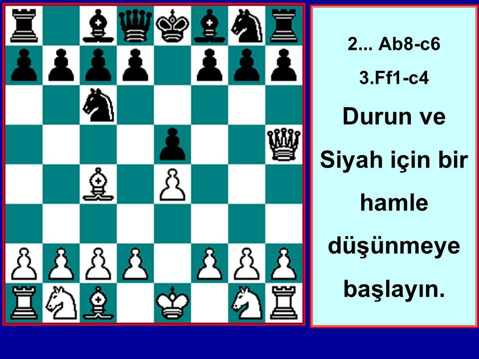 2... Ab8-c6 3.Ff1-c4 Durun ve Siyah için bir hamle düşünmeye başlayın.