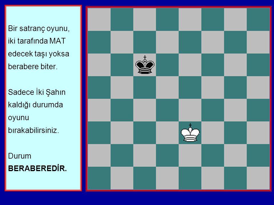 Bir satranç oyunu, iki tarafında MAT edecek taşı yoksa berabere biter