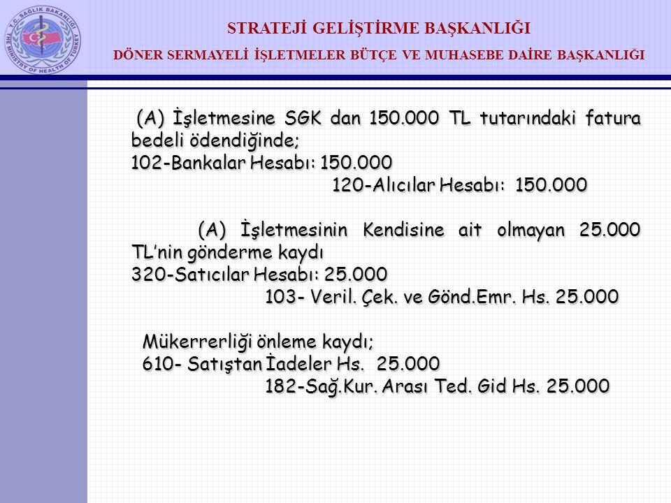 (A) İşletmesine SGK dan 150