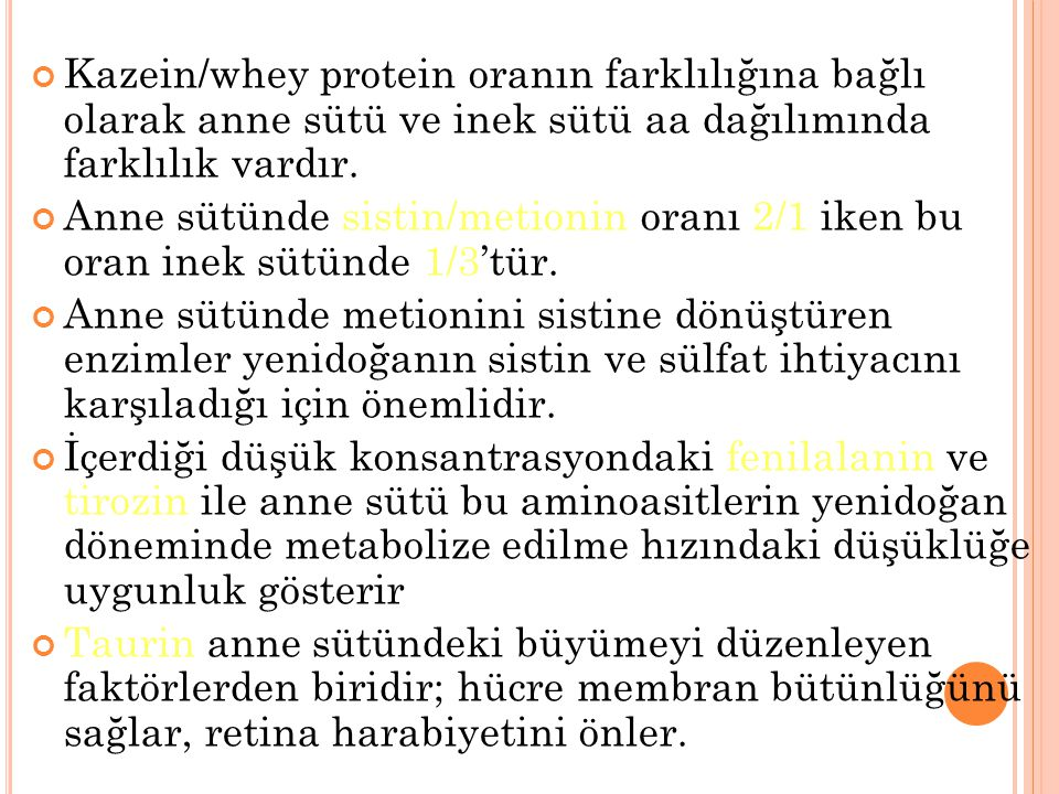 Kazein/whey protein oranın farklılığına bağlı olarak anne sütü ve inek sütü aa dağılımında farklılık vardır.
