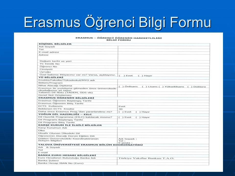 Erasmus Öğrenci Bilgi Formu
