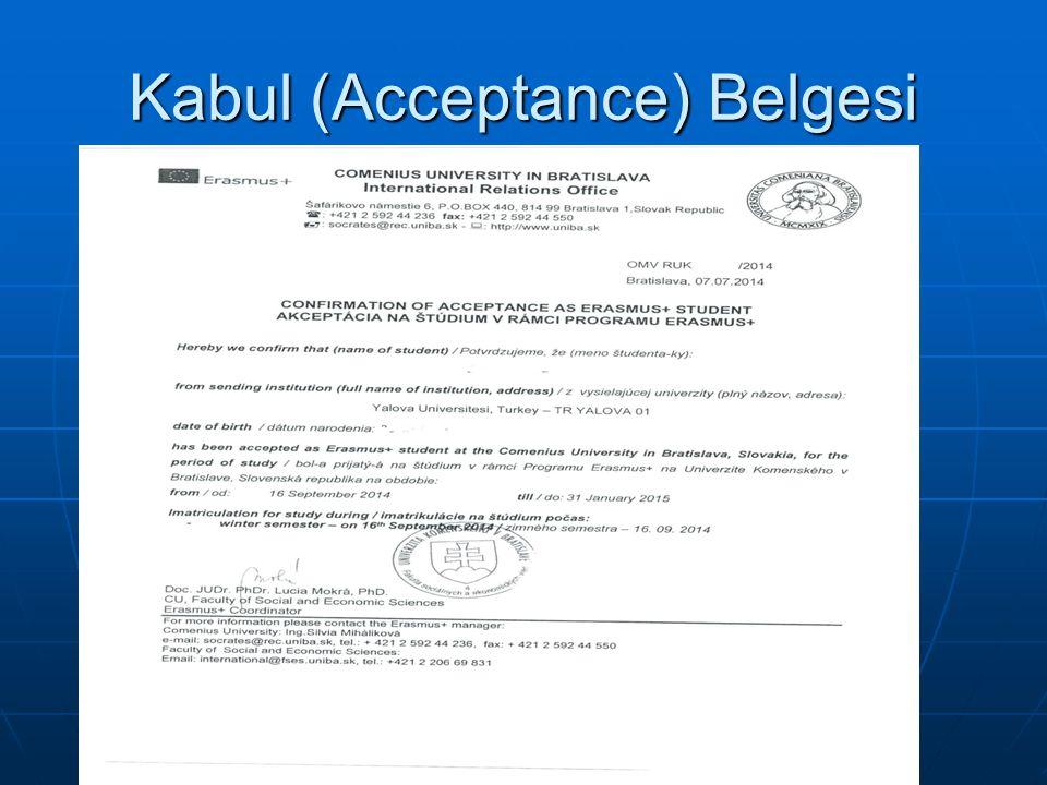 Kabul (Acceptance) Belgesi