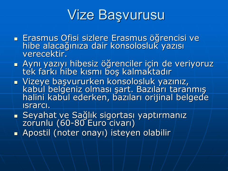 Vize Başvurusu Erasmus Ofisi sizlere Erasmus öğrencisi ve hibe alacağınıza dair konsolosluk yazısı verecektir.