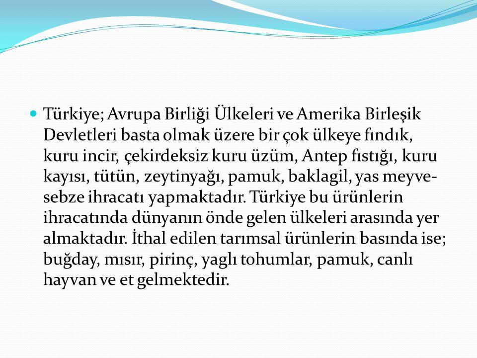 Türkiye; Avrupa Birliği Ülkeleri ve Amerika Birleşik Devletleri basta olmak üzere bir çok ülkeye fındık, kuru incir, çekirdeksiz kuru üzüm, Antep fıstığı, kuru kayısı, tütün, zeytinyağı, pamuk, baklagil, yas meyve-sebze ihracatı yapmaktadır.
