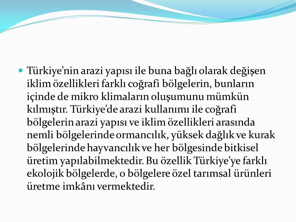 Türkiye'nin arazi yapısı ile buna bağlı olarak değişen iklim özellikleri farklı coğrafi bölgelerin, bunların içinde de mikro klimaların oluşumunu mümkün kılmıştır.