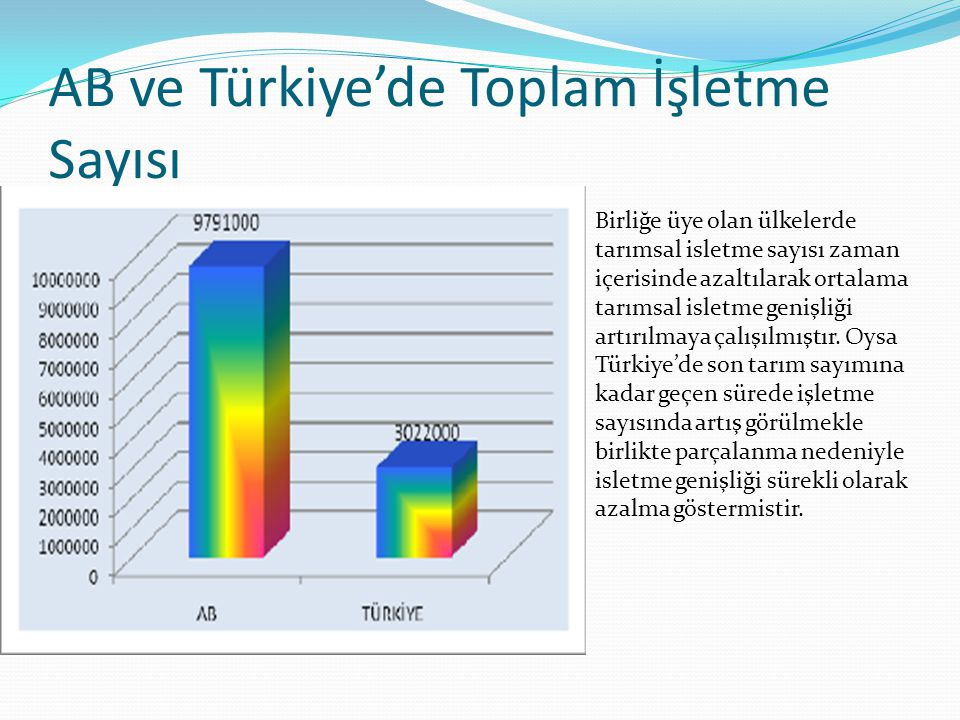 AB ve Türkiye'de Toplam İşletme Sayısı