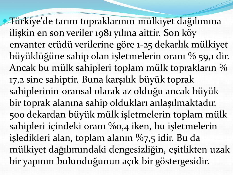 Türkiye de tarım topraklarının mülkiyet dağılımına ilişkin en son veriler 1981 yılına aittir.