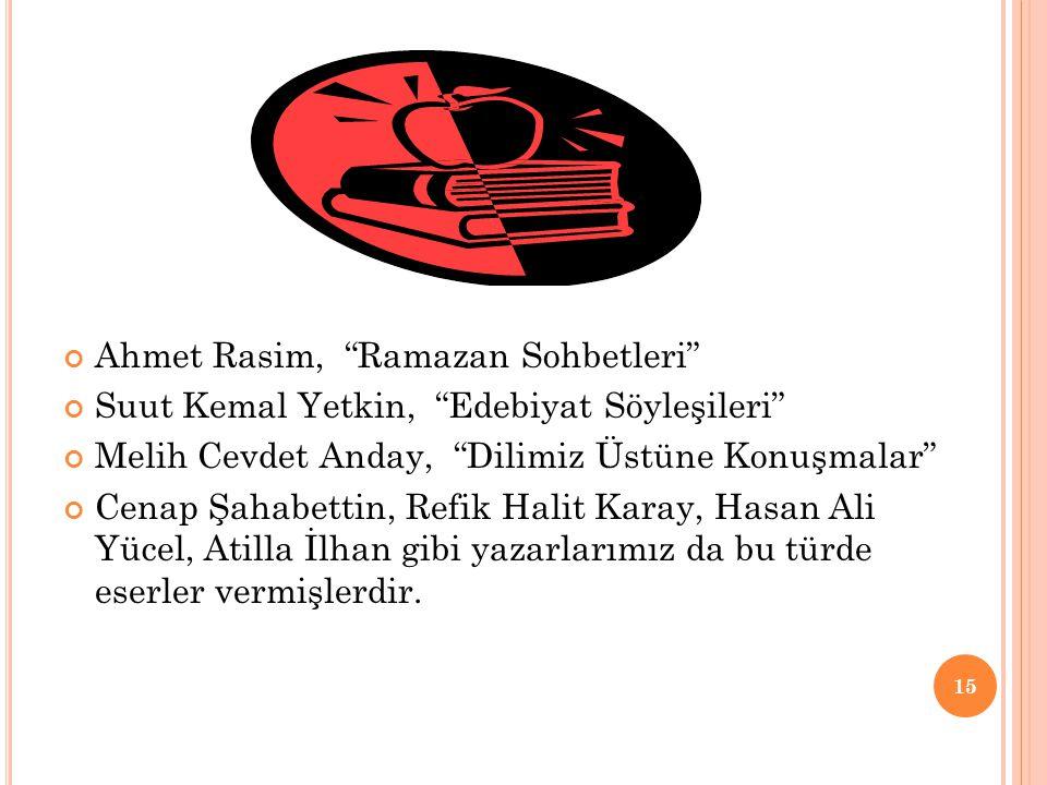 Ahmet Rasim, Ramazan Sohbetleri