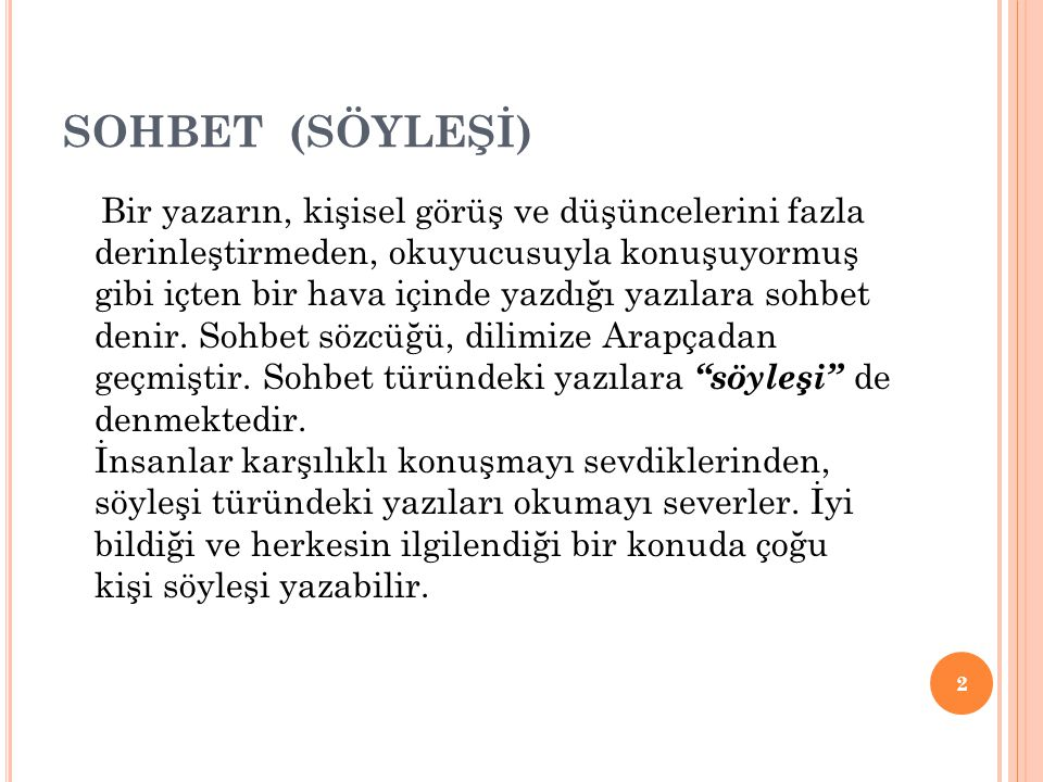 SOHBET (SÖYLEŞİ)