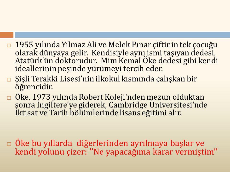 1955 yılında Yılmaz Ali ve Melek Pınar çiftinin tek çocuğu olarak dünyaya gelir. Kendisiyle aynı ismi taşıyan dedesi, Atatürk ün doktorudur. Mim Kemal Öke dedesi gibi kendi ideallerinin peşinde yürümeyi tercih eder.