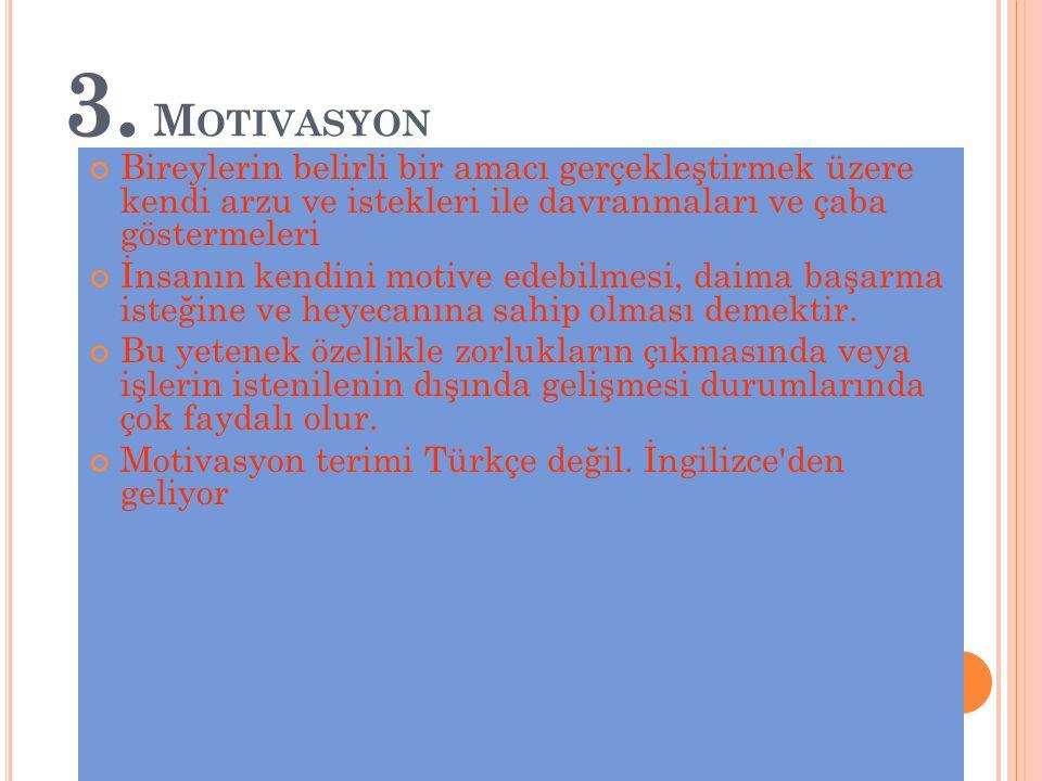 3. Motivasyon Bireylerin belirli bir amacı gerçekleştirmek üzere kendi arzu ve istekleri ile davranmaları ve çaba göstermeleri.