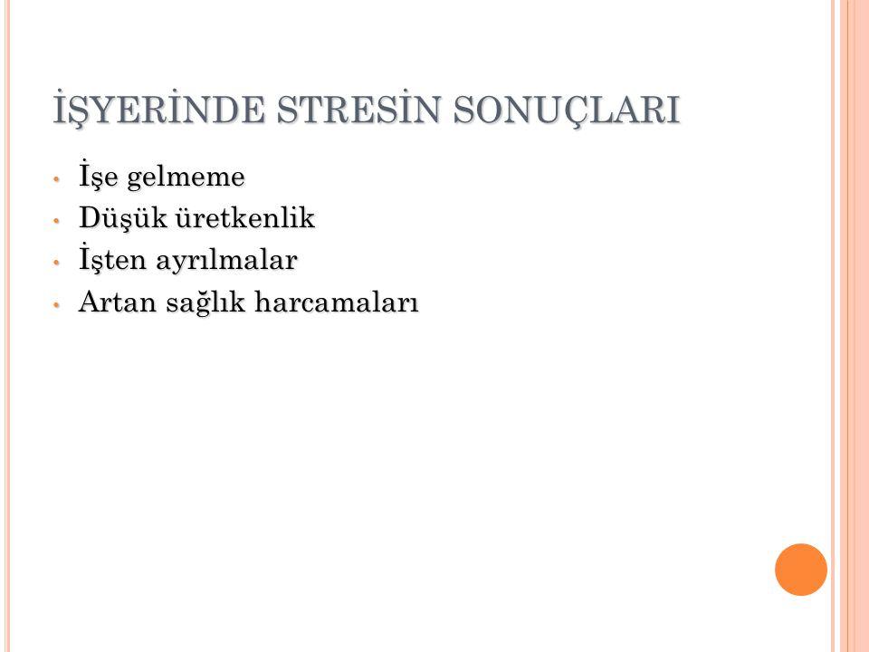 İŞYERİNDE STRESİN SONUÇLARI