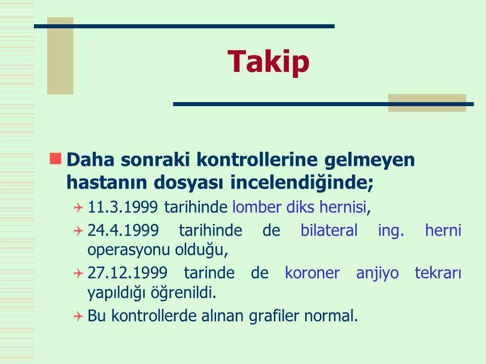 Takip Daha sonraki kontrollerine gelmeyen hastanın dosyası incelendiğinde; 11.3.1999 tarihinde lomber diks hernisi,