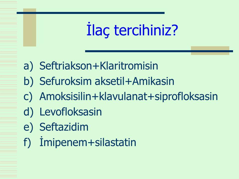 İlaç tercihiniz Seftriakson+Klaritromisin Sefuroksim aksetil+Amikasin