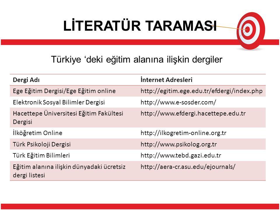 Türkiye 'deki eğitim alanına ilişkin dergiler