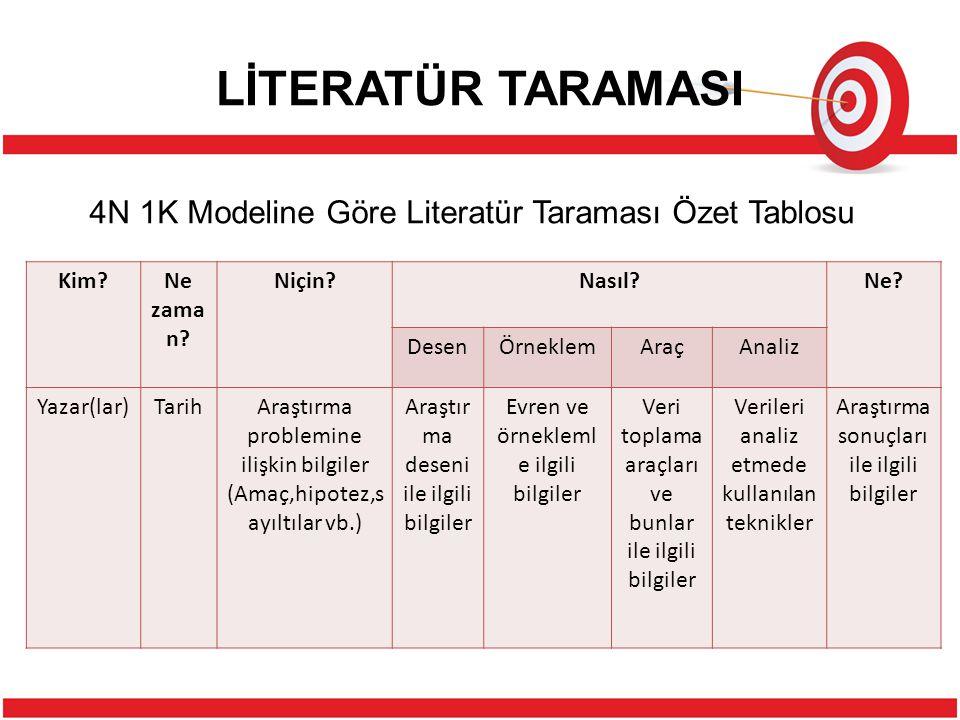 LİTERATÜR TARAMASI 4N 1K Modeline Göre Literatür Taraması Özet Tablosu