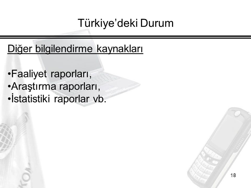 Türkiye'deki Durum Diğer bilgilendirme kaynakları Faaliyet raporları,