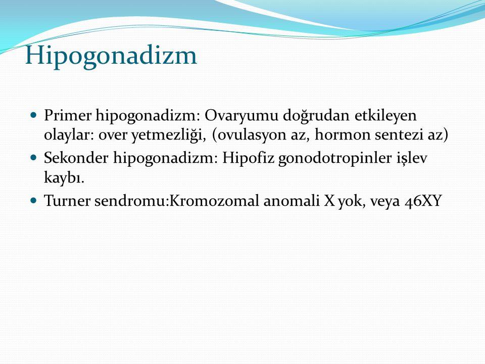 Hipogonadizm Primer hipogonadizm: Ovaryumu doğrudan etkileyen olaylar: over yetmezliği, (ovulasyon az, hormon sentezi az)