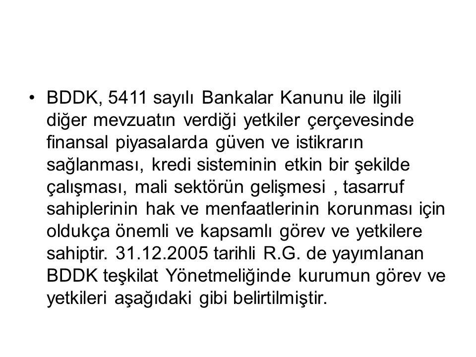 BDDK, 5411 sayılı Bankalar Kanunu ile ilgili diğer mevzuatın verdiği yetkiler çerçevesinde finansal piyasalarda güven ve istikrarın sağlanması, kredi sisteminin etkin bir şekilde çalışması, mali sektörün gelişmesi , tasarruf sahiplerinin hak ve menfaatlerinin korunması için oldukça önemli ve kapsamlı görev ve yetkilere sahiptir.