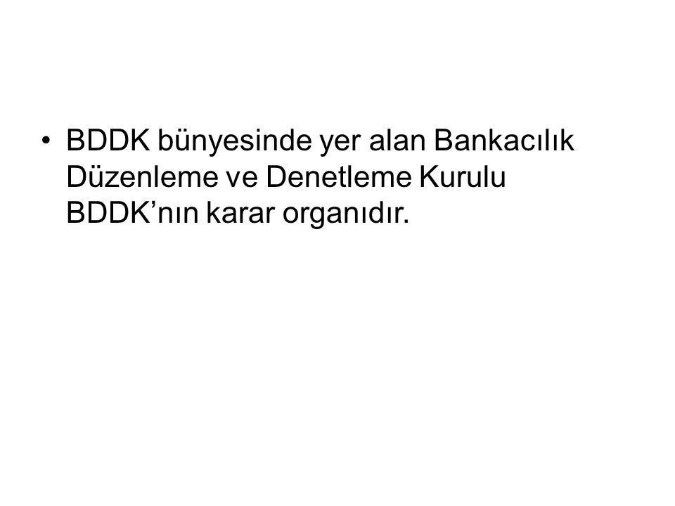 BDDK bünyesinde yer alan Bankacılık Düzenleme ve Denetleme Kurulu BDDK'nın karar organıdır.