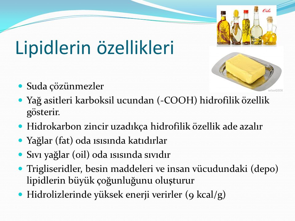 Lipidlerin özellikleri