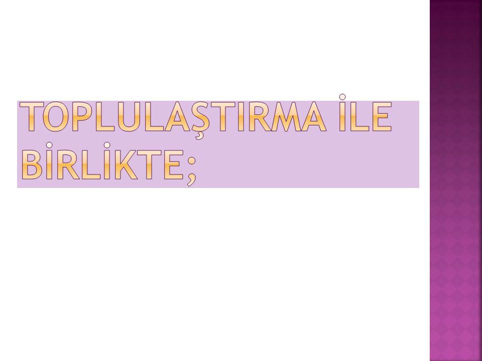 TOPLULAŞTIRMA İLE BİRLİKTE;