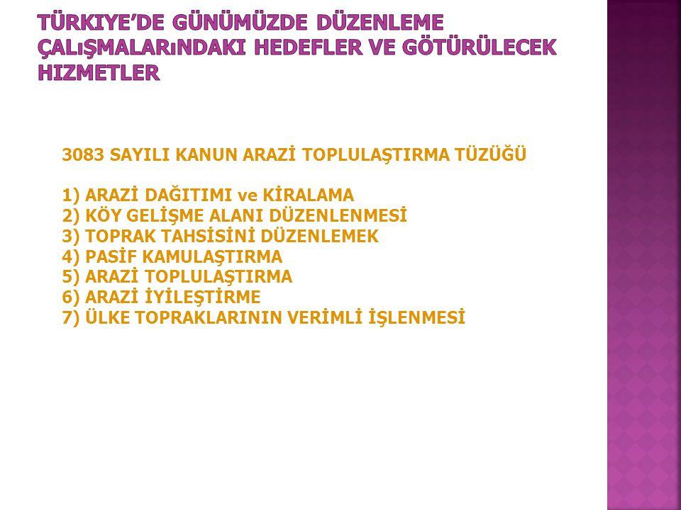 Türkiye'de Günümüzde Düzenleme Çalışmalarındaki Hedefler ve Götürülecek Hizmetler