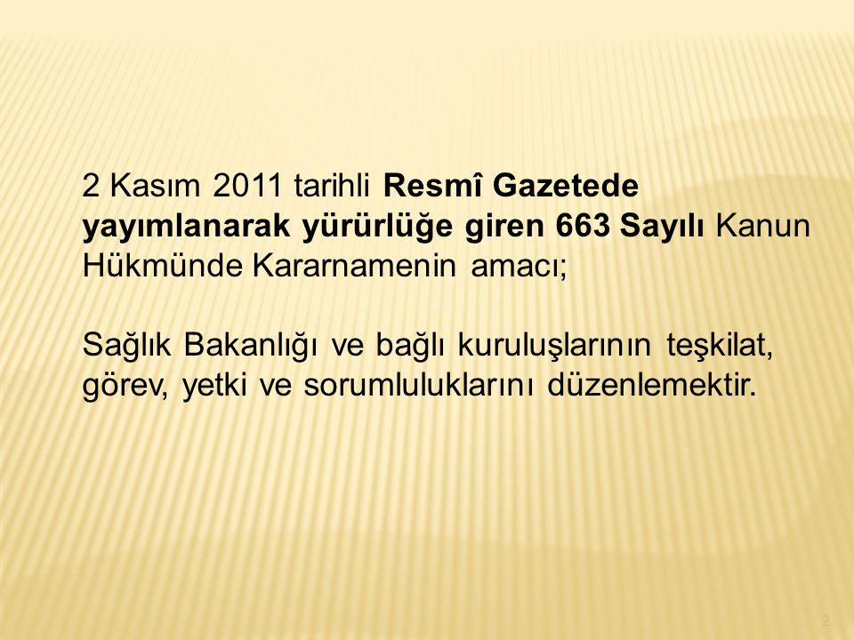 2 Kasım 2011 tarihli Resmî Gazetede yayımlanarak yürürlüğe giren 663 Sayılı Kanun Hükmünde Kararnamenin amacı;