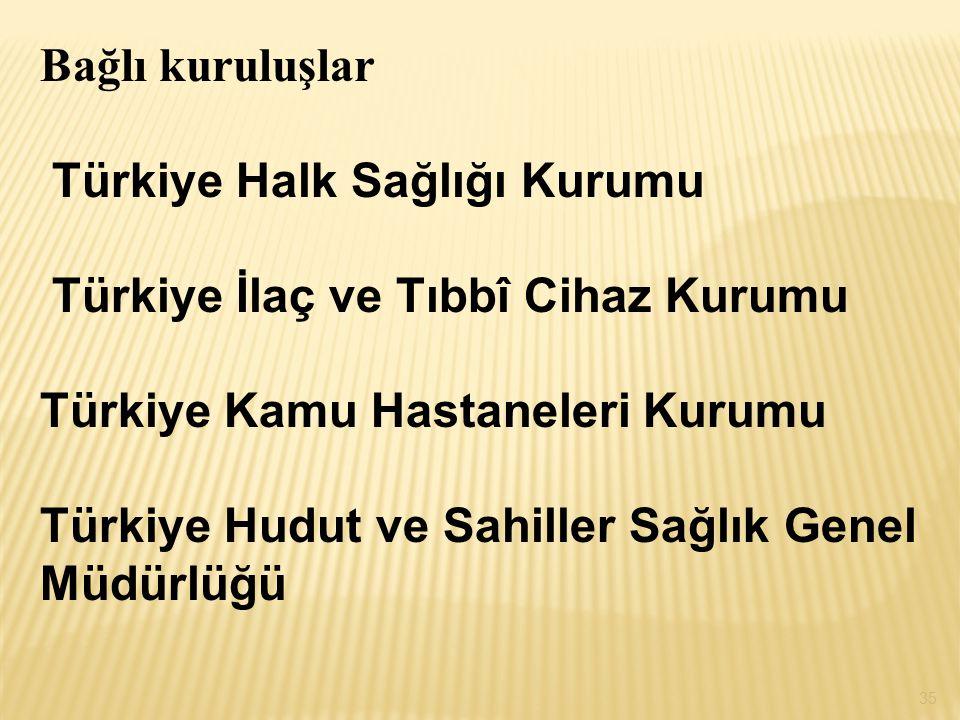 Bağlı kuruluşlar Türkiye Halk Sağlığı Kurumu. Türkiye İlaç ve Tıbbî Cihaz Kurumu. Türkiye Kamu Hastaneleri Kurumu.