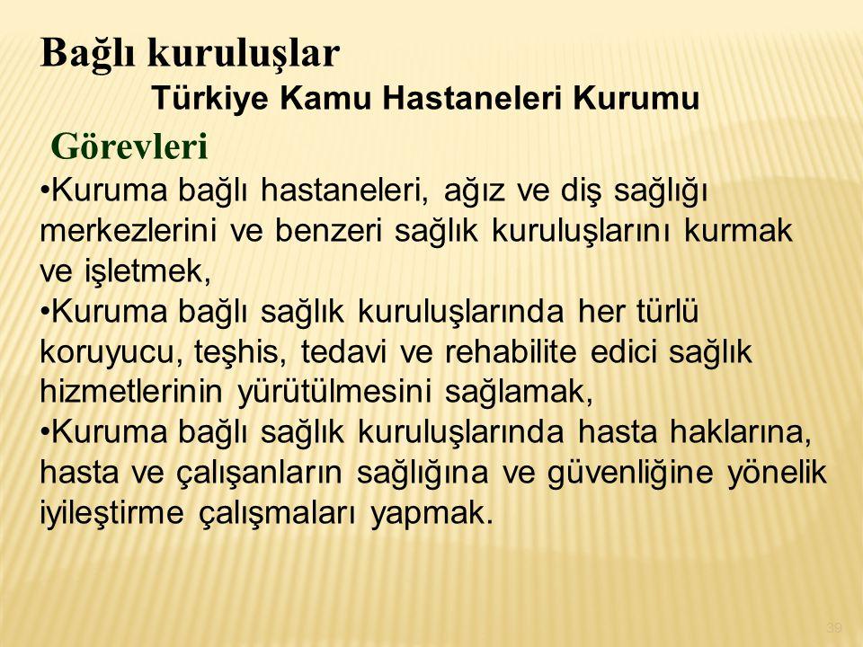 Bağlı kuruluşlar Görevleri Türkiye Kamu Hastaneleri Kurumu