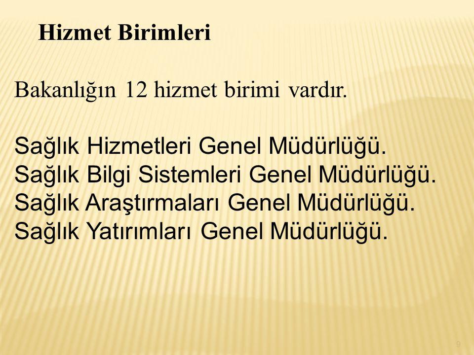 Bakanlığın 12 hizmet birimi vardır. Sağlık Hizmetleri Genel Müdürlüğü.
