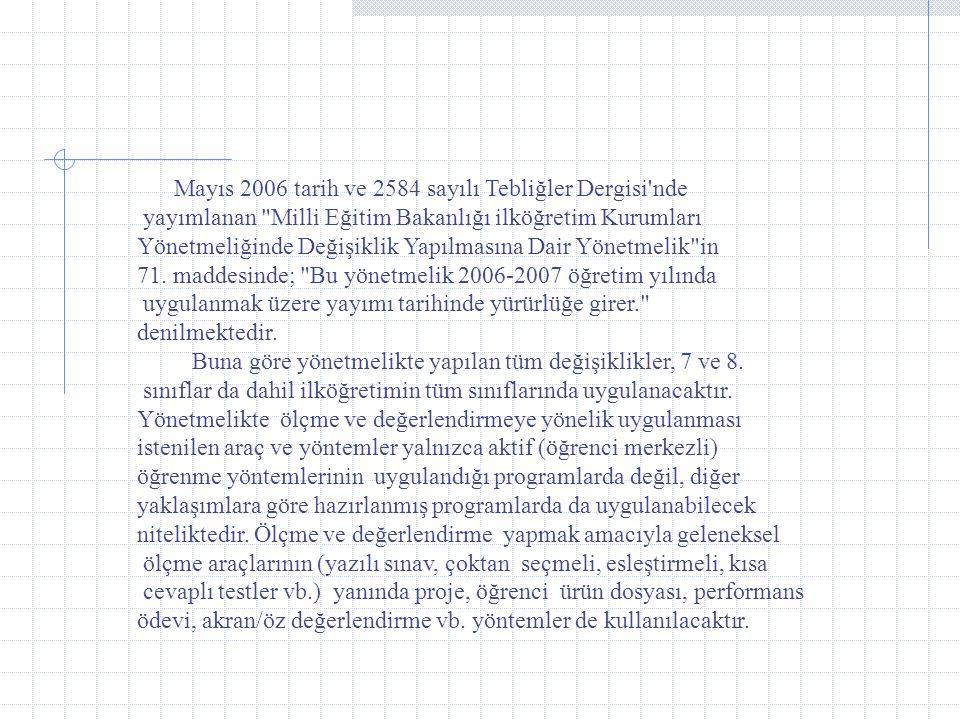 yayımlanan Milli Eğitim Bakanlığı ilköğretim Kurumları