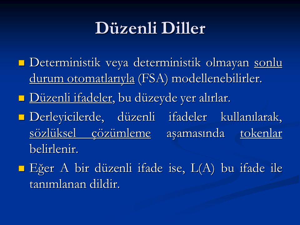 Düzenli Diller Deterministik veya deterministik olmayan sonlu durum otomatlarıyla (FSA) modellenebilirler.