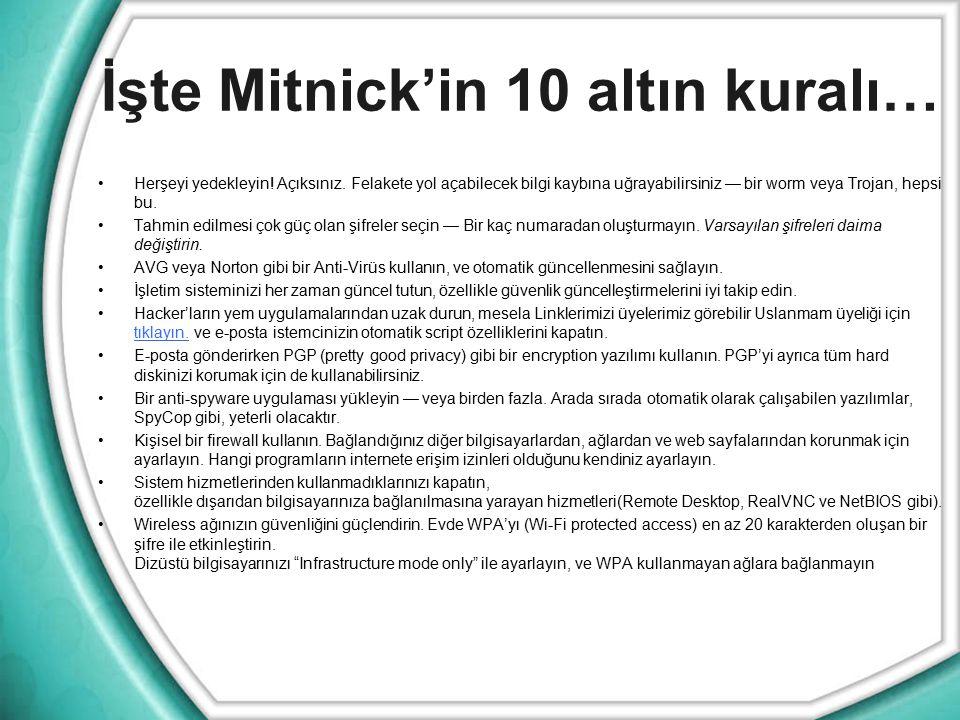 İşte Mitnick'in 10 altın kuralı…