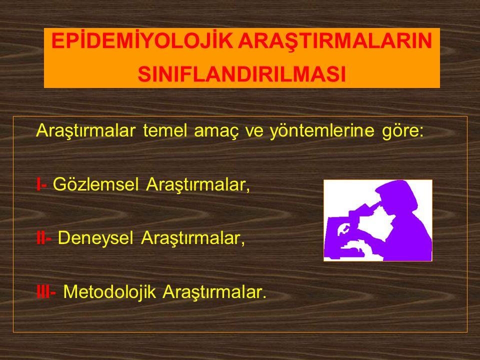 EPİDEMİYOLOJİK ARAŞTIRMALARIN SINIFLANDIRILMASI