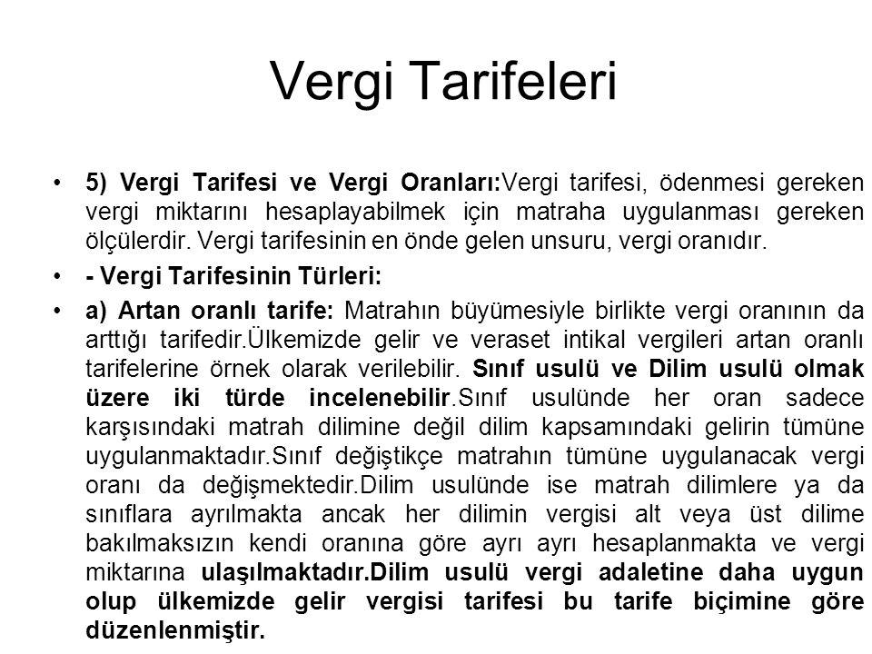 Vergi Tarifeleri